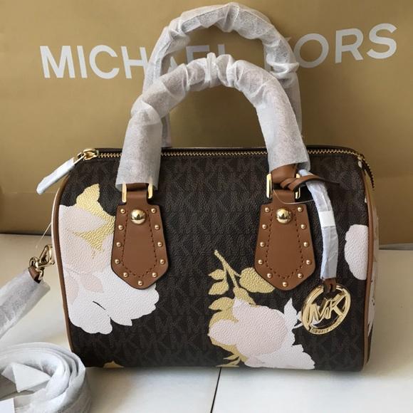 bd14c798f45d 💦🌻mk Satchel 🌻crossbody  Aria bag brown floral